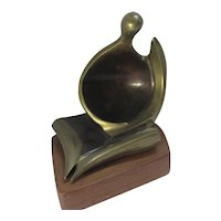Abstract Bronze Sculpture Mahogany Base Vintage c1970.