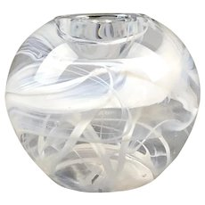 Swedish Swirl Glass Paperweight Candleholder Kosta Boda Vintage