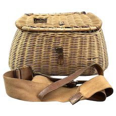 Wicker Fishing Creel Basket Vintage