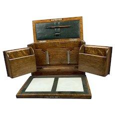 Oak Wood Stationary Box Antique Edwardian c 1901