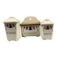 Ceramic Pepper Spices And Matches Jars Vintage c1950 By Java