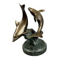 Bronze And Marble Sculpture of Two Dolphin Antique Art Nouveau c1910