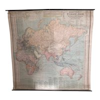 Scarborough Map Of The World Double Sided Art Deco Antique c1910