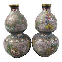 Pair Japanese Cloisonné Gourd Shaped Vases Antique c1910