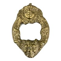 Brass Door Knocker in The Form Of A Angel And Demon Antique Victorian c1890