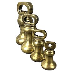 Set Of Four Decorative Brass Scale Weights Antique Victorian c1890