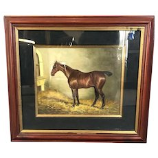 Oil On Board Thoroughbred Horse In Stable Antique Victorian c1890