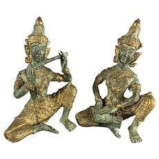 Pair Of Bronze Thai Temple Musician Statues Antique Victorian c1890