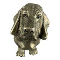 Cast Iron Dachshund Or Basset Hound Statue Vintage c1950