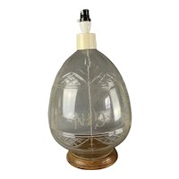 Large Cut Glass Table Lamp With Gin Mark Vintage c1970