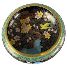 Small Brass Chinese Cloisonne Bird And Flowers Bowl Antique Victorian c1890
