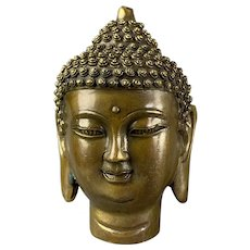 Bronze Miniature Thai Buddha Head Figure Vintage c1950