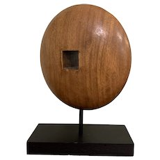 Abstract Walnut Round Wooden Sculpture With Wooden Based Vintage Mid Century c1960