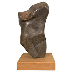 Stone Sculpture Abstract Torso Form With Wooden Base Vintage Contemporary c1990