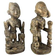 Pair Of Hard African Wood Benin Style Carved Figurine Vintage c1930