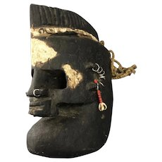 Mohican Unusual African Wooden Beaded Dogon Mask with Piercing Vintage c1950