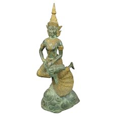 Thai Bronze Female Thepphanom Figure Vintage c1960