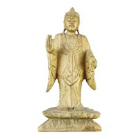 Carved Wooden Standing Buddha Figure Vintage Mid Century c1960