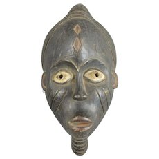 African Yoruba Nigeria Carved Wooden Mask Vintage 20th Century.