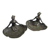 Pair Of Cold Cast Bronze Figurine Ashtrays Antique Art Deco c1920