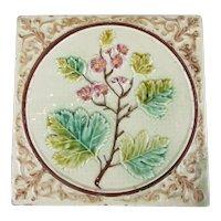 Majolica Relief Moulded Floral Tile Antique Victorian c1900