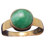 18 Ct Gold And Jade Ring Hallmarked Antique Victorian C. 1870