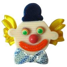 Genuine Lea Stein Clown Head Brooch Vintage c.1960s