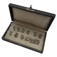 Boxed Set of Silver Table Numbers Vintage c1920s.