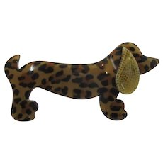 Lea Stein Celluloid Plastic Dog Brooch Pin French Vintage c1970.