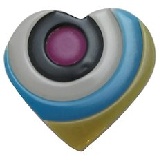 Lea Stein Celluloid Plastic Heart Brooch Pin Vintage French c1970.