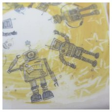 Spacemen Robot China Pottery Vintage Ceramic Drink Coasters by Julia Davey Set of 4.