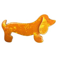 Lea Stein Celluloid Plastic Dachshund Brooch Pin Vintage French c1970