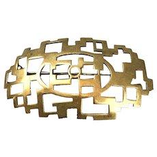 Fritz Knoch Erfurt Geometric Abstract Brass Brooch Pin German Art Deco Vintage c1930