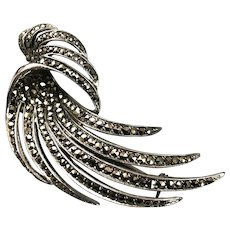 Sterling Silver Marcasite Swirl Brooch Pin Vintage c1950