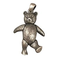 Sterling Silver Articulated Teddy Bear Pendant Vintage c1980