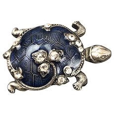 Catherine Popesco Blue Enamelled Tortoise Brooch Pin French Vintage c1980