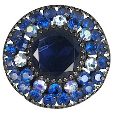 Weiss NY Deep Blue Brooch Pin American Vintage c1960