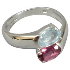 18ct White Gold with Topaz and Tourmaline Ring  Size O/ 7.5