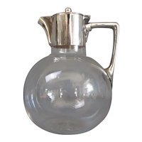 Silver Plated and Cut Glass Lidded Jug by James Dixon Antique c1881