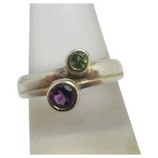 Amethyst & Peridot Sterling Silver Ring Vintage English
