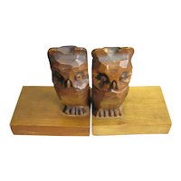 Pair Of Carved Owl Bookends Art Deco c1920
