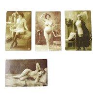 Four Erotic French Postcards Art Deco c1930