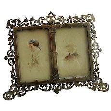 Brass Pierced Photo Frame Antique Victorian c1880