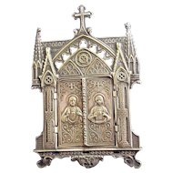 French Brass Pressed Metal Ecclesiastical Frame Antique c1890