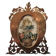 Brass Pierced Heart Shaped Photo Frame Antique Victorian c.1880.