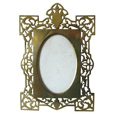 Brass Pierced Easel Photo Picture Frame Antique Victorian c.1890.