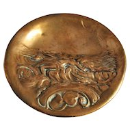 Copper Art Nouveau Pin Dish Decorated With Reclining Nude Antique Victorian c.1900.