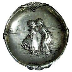 Pewter Art Nouveau Dutch Boy And Girl Pin Dish Antique c1880
