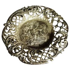 English Sterling Silver Pin Dish with Bacchus Decoration Antique Victorian