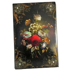 Paper Mache Hand Painted And Mother Of Pearl Blotter Folder Antique c1880